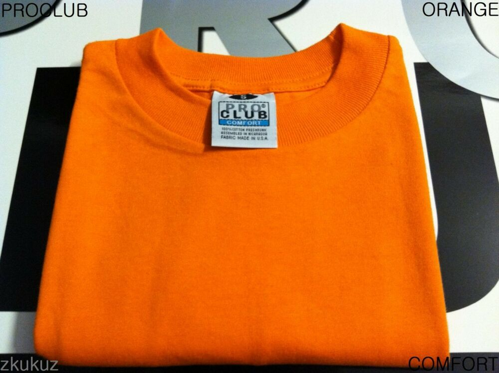 3 new proclub comfort plain t shirt blank orange tee pro for T shirts for clubs