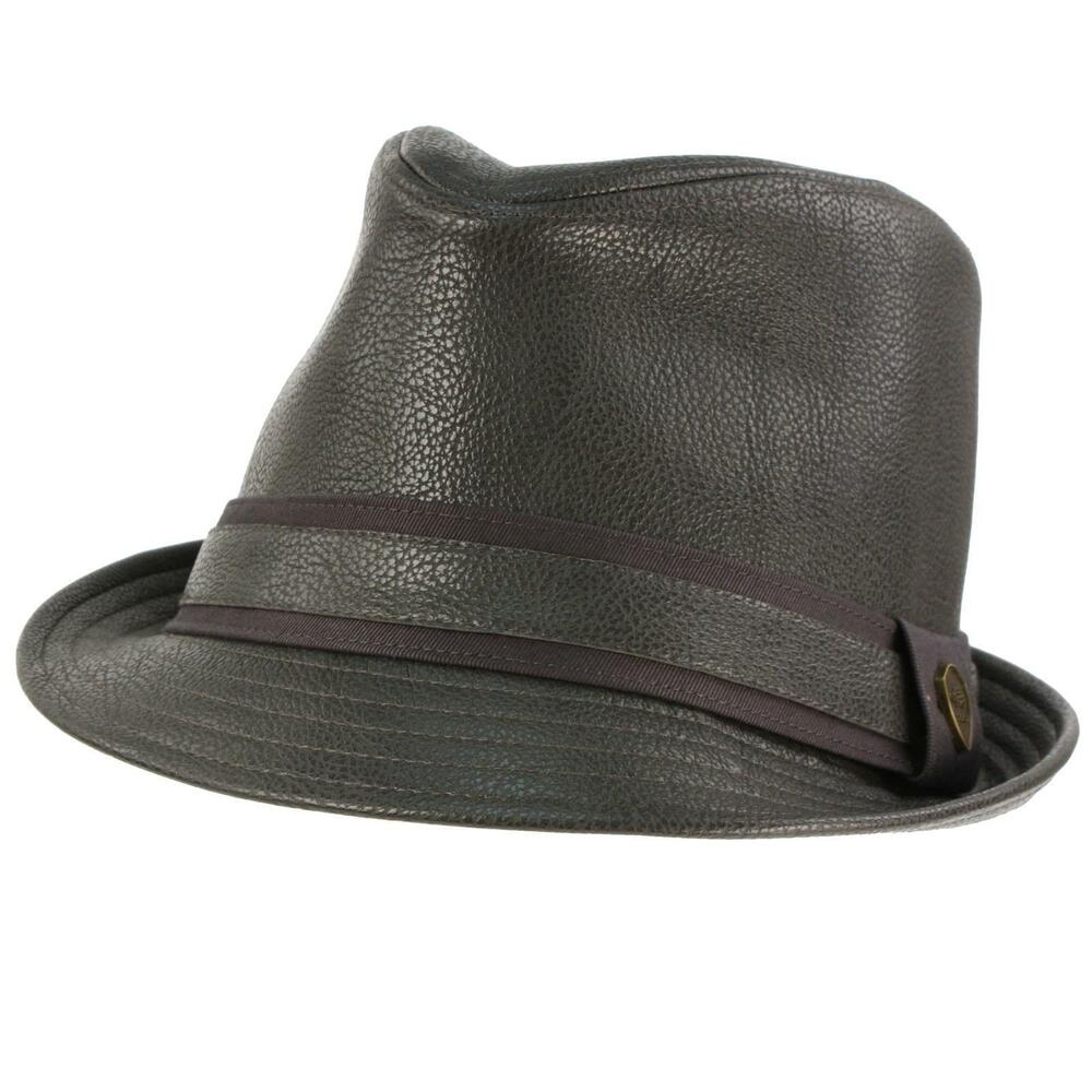 Rock A Gray Hat And Leather Jacket For Fall: Men's Winter Fall Faux Fake Leather Fedora Trilby Derby