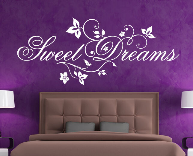 wandtattoo wandaufkleber schlafzimmer spruch vers liebe sweet dreams s e tr ume ebay. Black Bedroom Furniture Sets. Home Design Ideas