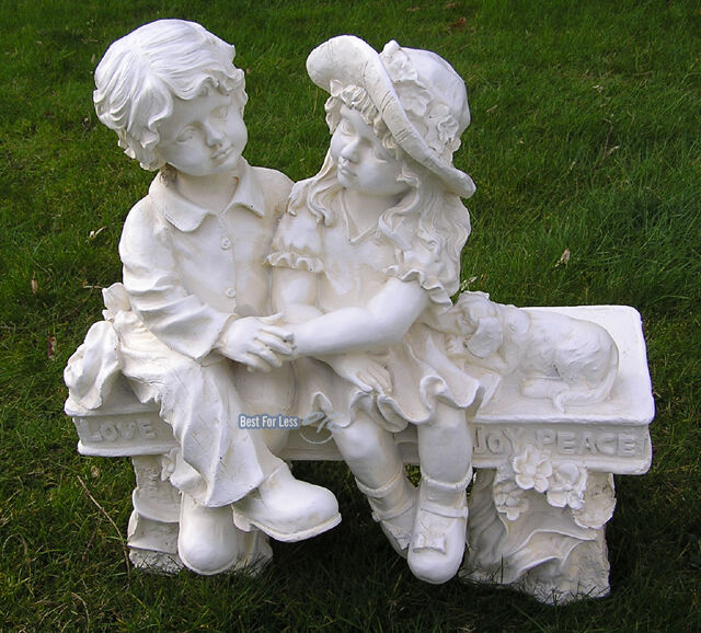 gartenfigur junge m dchen auf bank garten figur deko romantisch shabby chic ebay. Black Bedroom Furniture Sets. Home Design Ideas