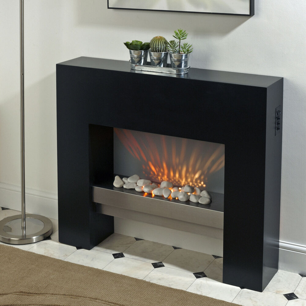 BLACK FREE STANDING ELECTRIC FIRE MDF SURROUND FIREPLACE