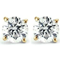 Kyпить 1/2ct Natural (Real) Round Cut Diamond Stud Earring set in 14k Yellow Gold на еВаy.соm