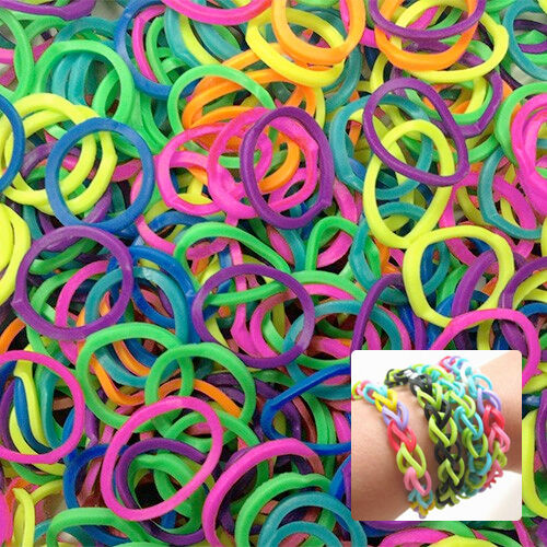 600 neon loom bands in assorted colors with 12 connectors ebay