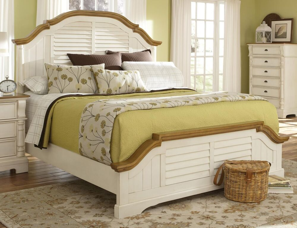 Wonderful white shutter country cottage queen bed bedroom for Country bedroom furniture