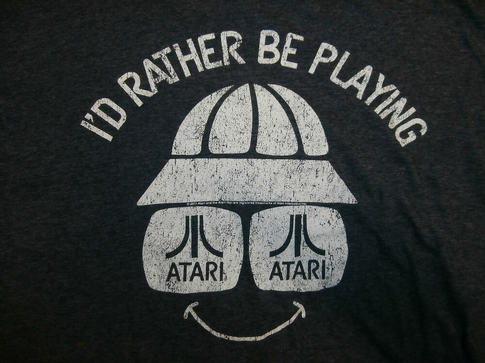 I'D RATHER BE PLAYING ATARI T SHIRT Retro 80's Logo 2600 Turtle Bucket Hat 2XL