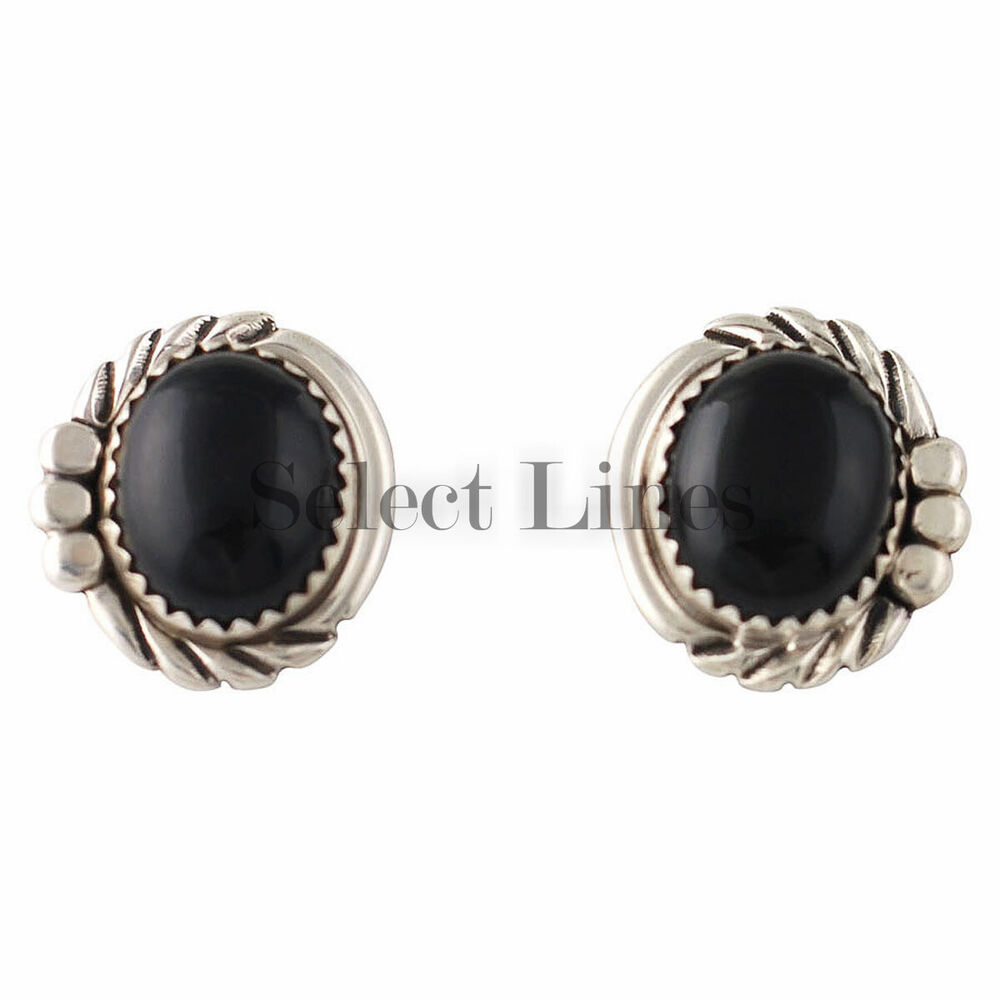 Sterling silver onyx post earrings native american navajo for Sterling silver navajo jewelry