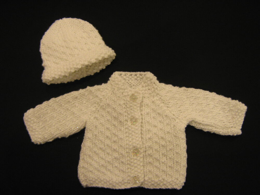 Premature Babies Knitting Patterns : Premature Baby Cardigan/ Jacket & Hat Knitting Pattern DK   Dot Design   ...