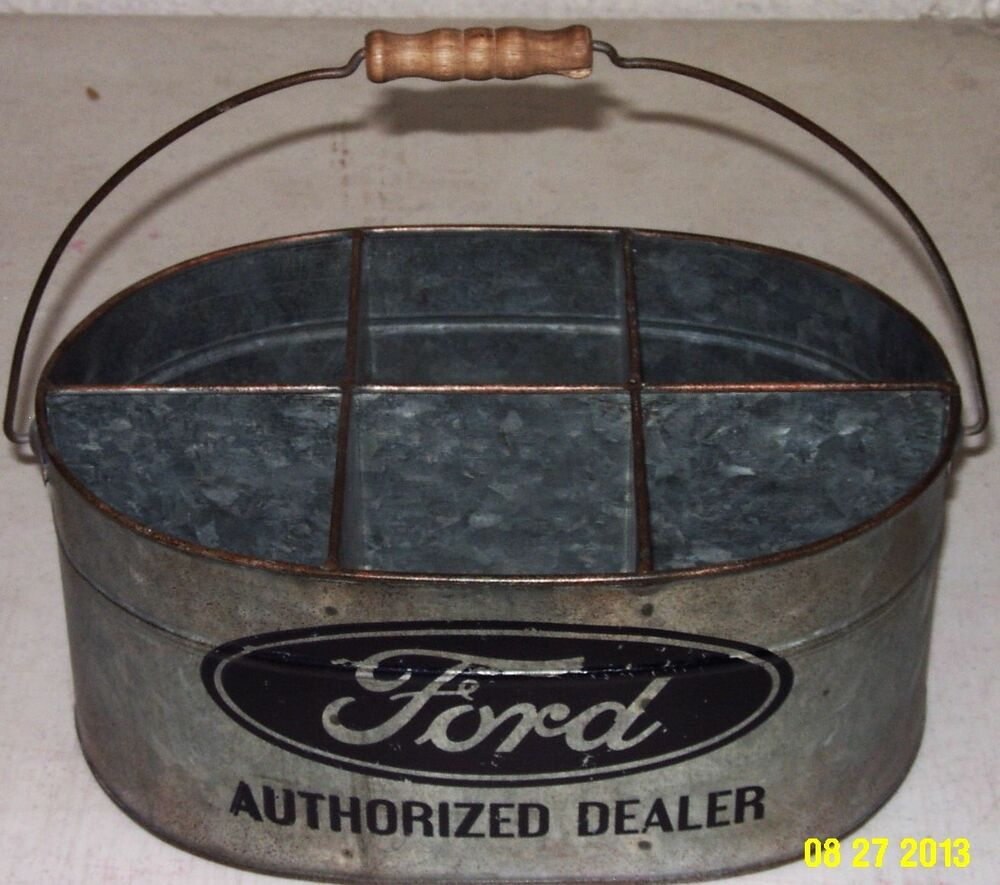 ford blue oval authorized dealer galvanized 6 compartment. Black Bedroom Furniture Sets. Home Design Ideas
