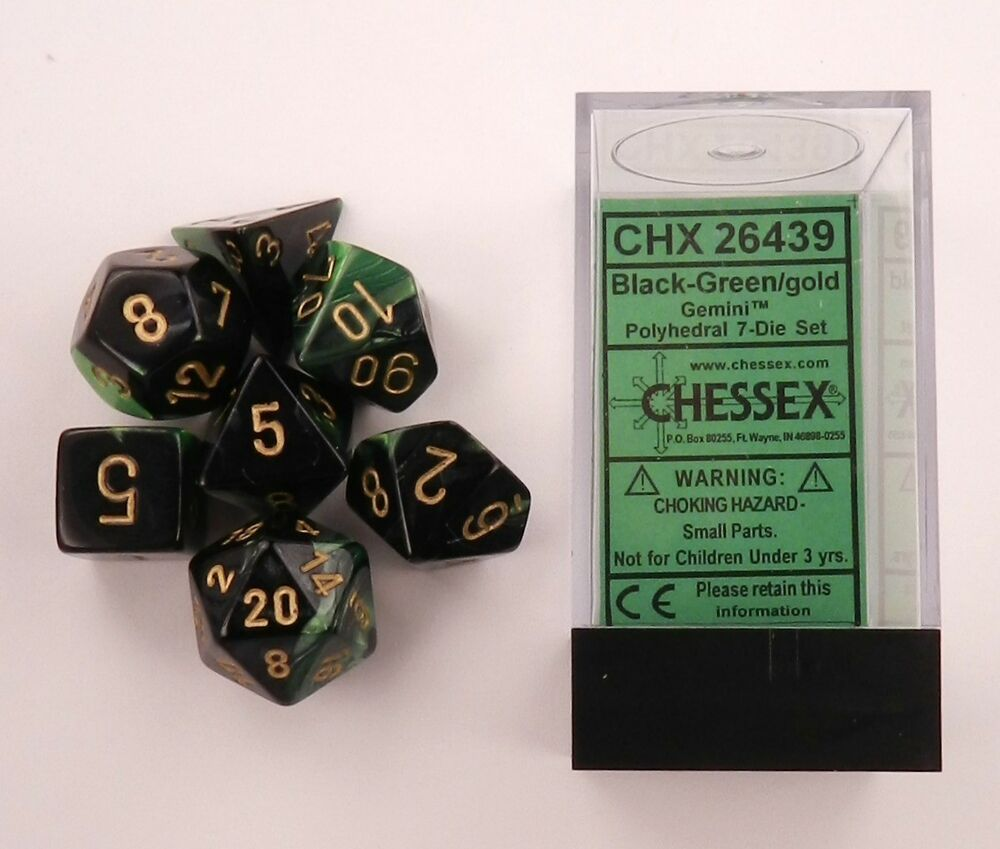 Chessex 7 Dice Set Gemini Black-Green W Gold CHX 26439 For