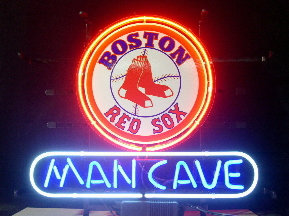 Man Cave Neon Signs Uk : New mlb boston red sox baseball man cave real glass neon