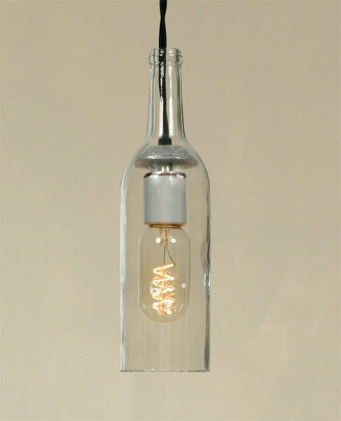 Country Glass 750 Ml Wine Hanging Bottle Light Plug In