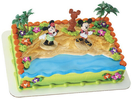 Mickey And Minnie Mouse Beach Luau Birthday Cake Kit