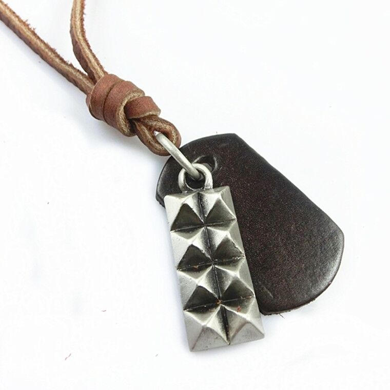 new leather s brushed metal pendant surfer necklace
