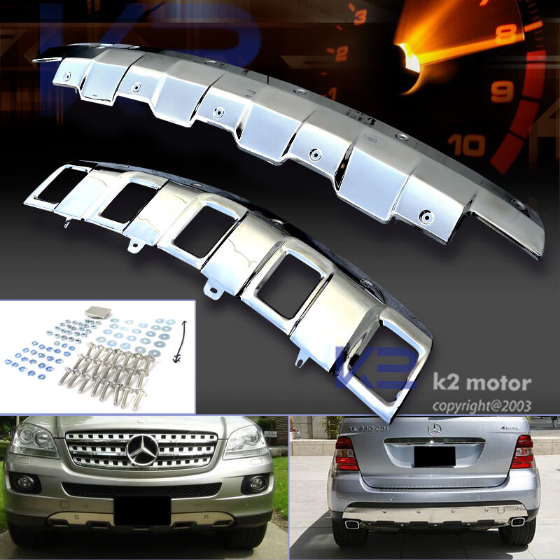 Rear Bumper Replacement >> 06-08 BENZ W164 ML350 CHROME POLISHED FRONT+REAR BUMPER SKID PLATE COVER   eBay