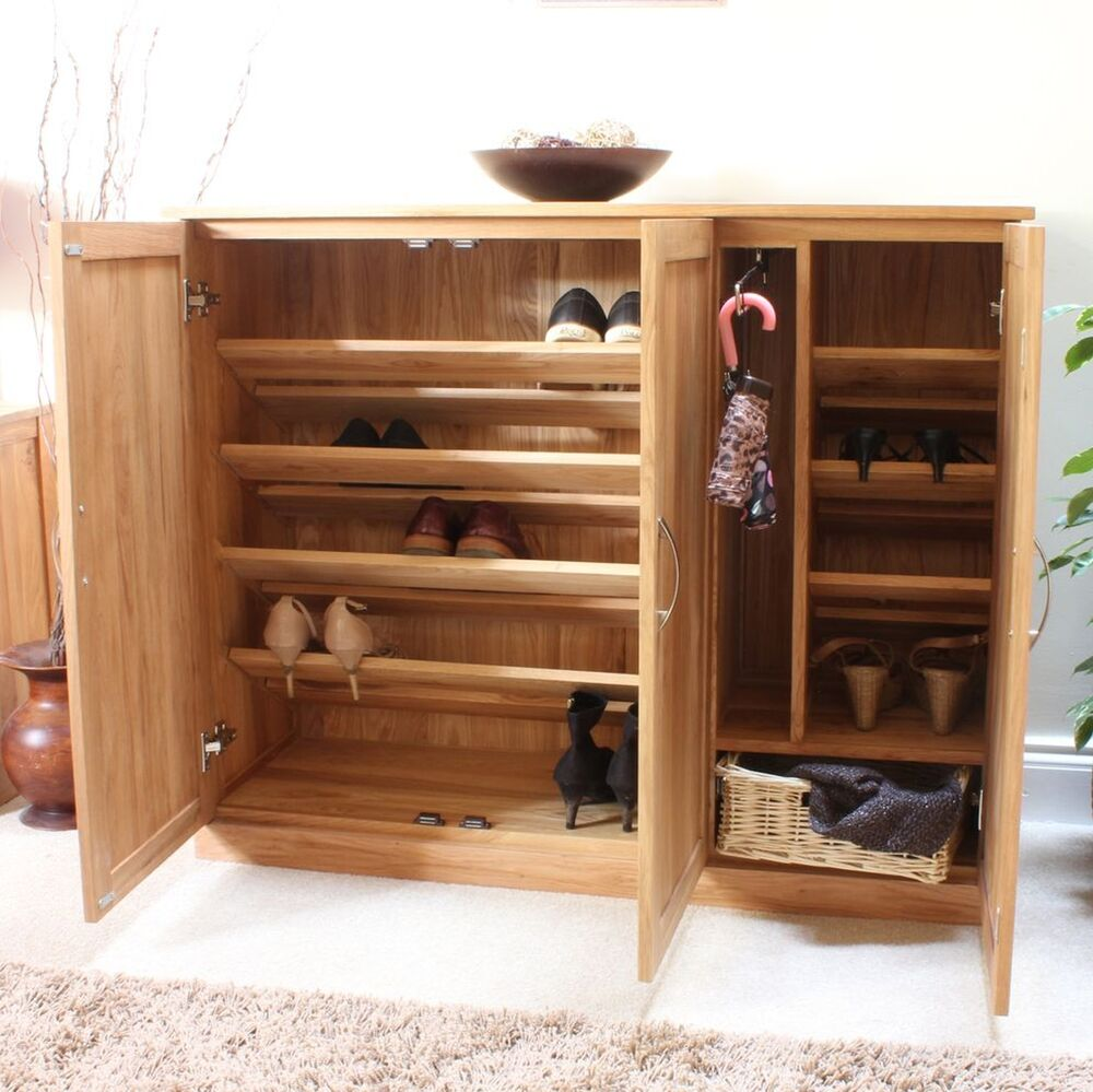 Foyer Shoe Storage Furniture : Mobel solid oak furniture shoe cupboard cabinet large