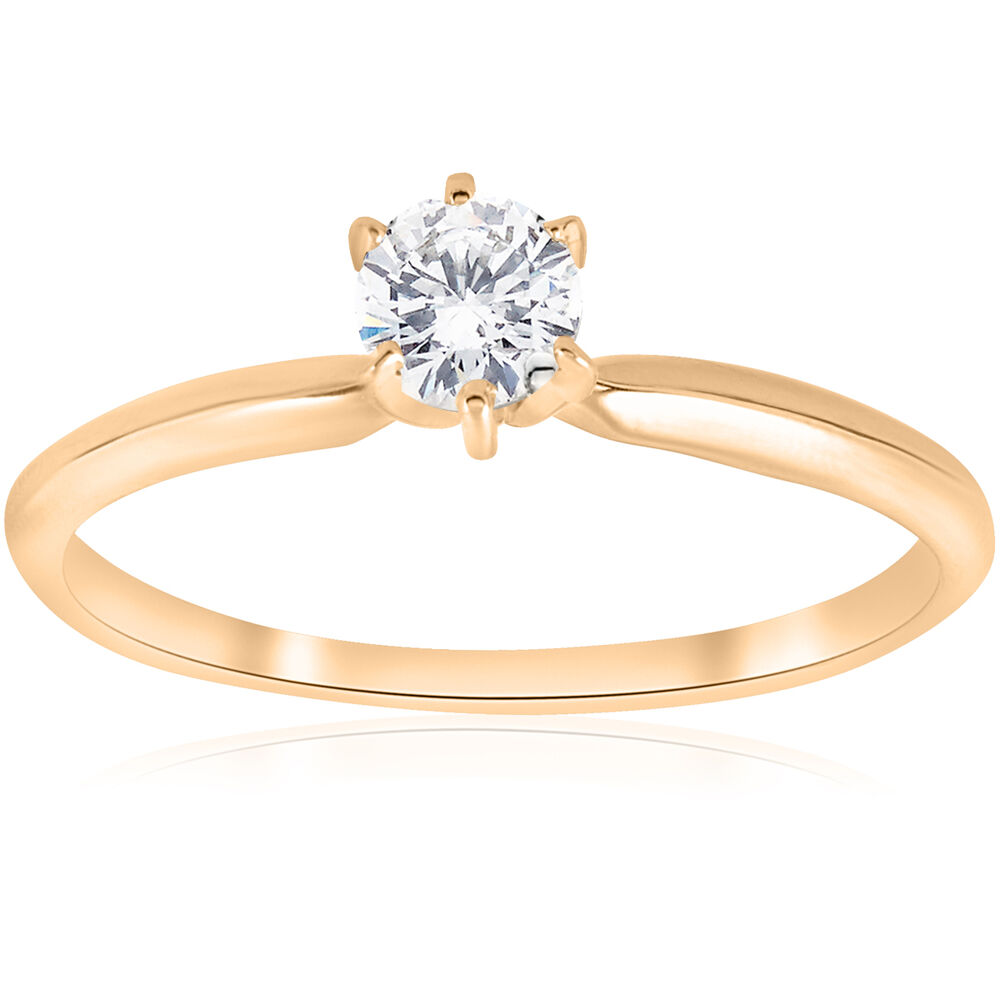 14k yellow gold 1 4ct round diamond solitaire engagement. Black Bedroom Furniture Sets. Home Design Ideas