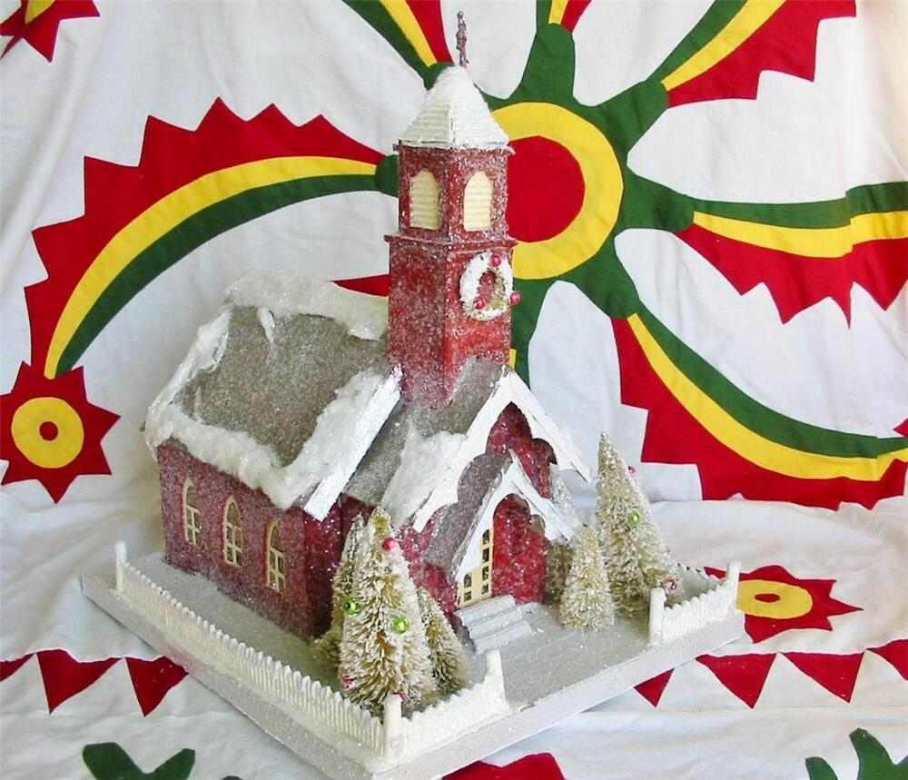 Lighted paper mache christmas large country chapel church for Paper mache christmas