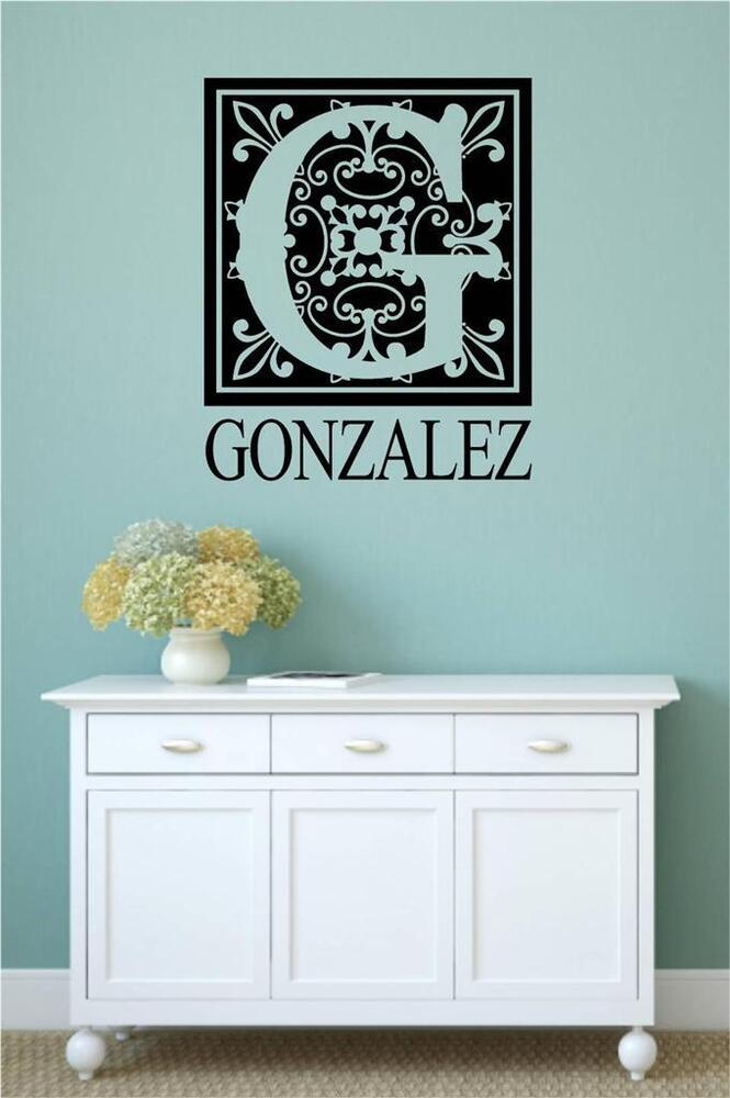 Word Wall Art Vinyl Lettering Home Decor ~ Personalized monogram name vinyl wall art decal word