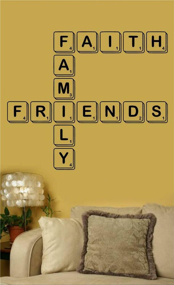 Faith family friends scrabble vinyl wall art decal word for Word wall art