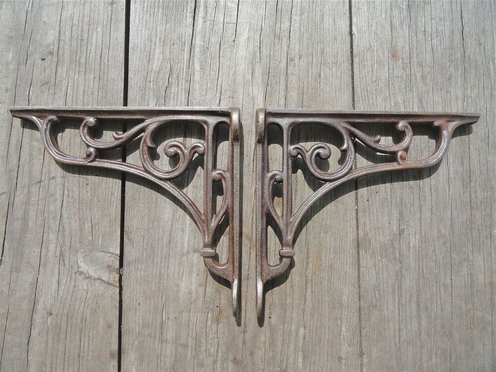 pair of cast iron edwardian scroll brackets shelf brackets wall bracket sc1 ebay. Black Bedroom Furniture Sets. Home Design Ideas