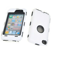 Deluxe White 3 Piece Hard Skin Case Cover For iPod Touch 4 4G 4TH GEN