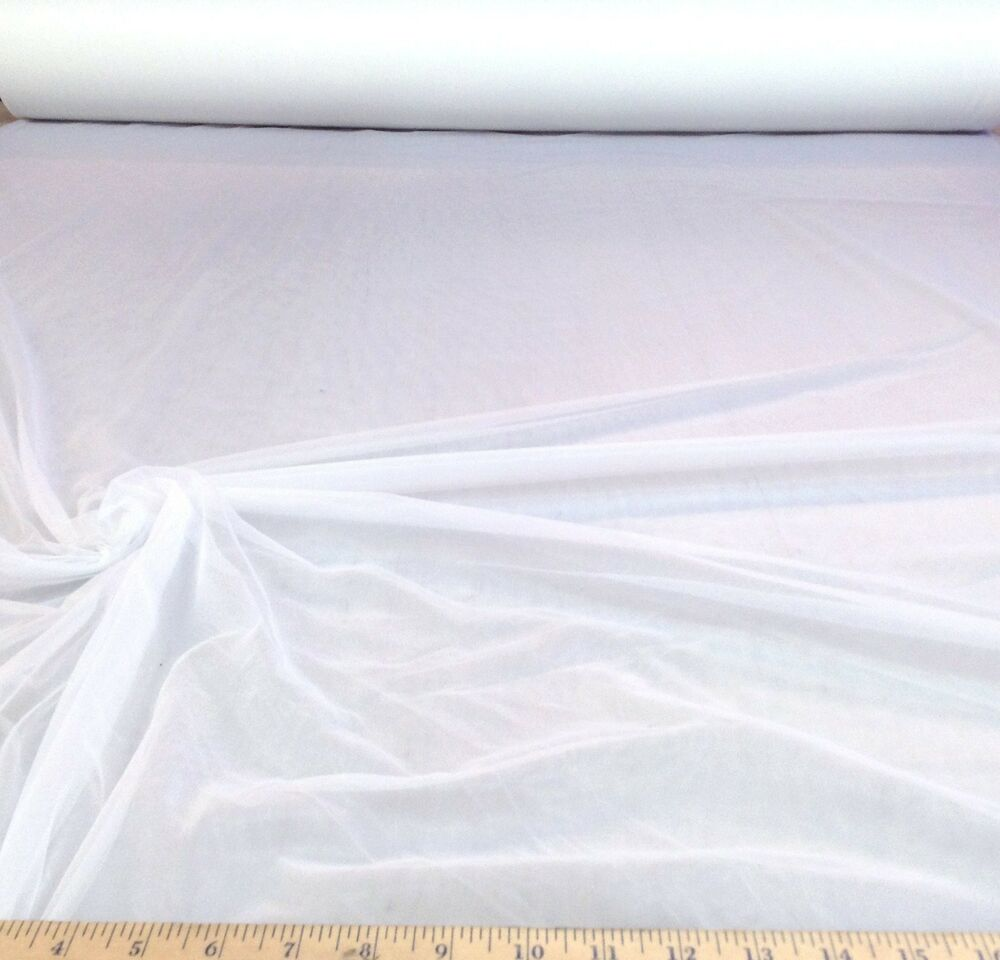 Discount fabric 108 white powernet mesh spandex sheer for Sheer fabric