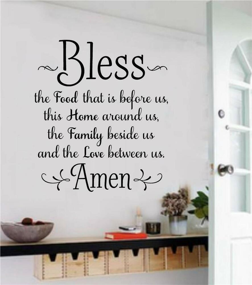 Word Wall Art Vinyl Lettering Home Decor ~ Bless the food before us wall decals vinyl sticker words