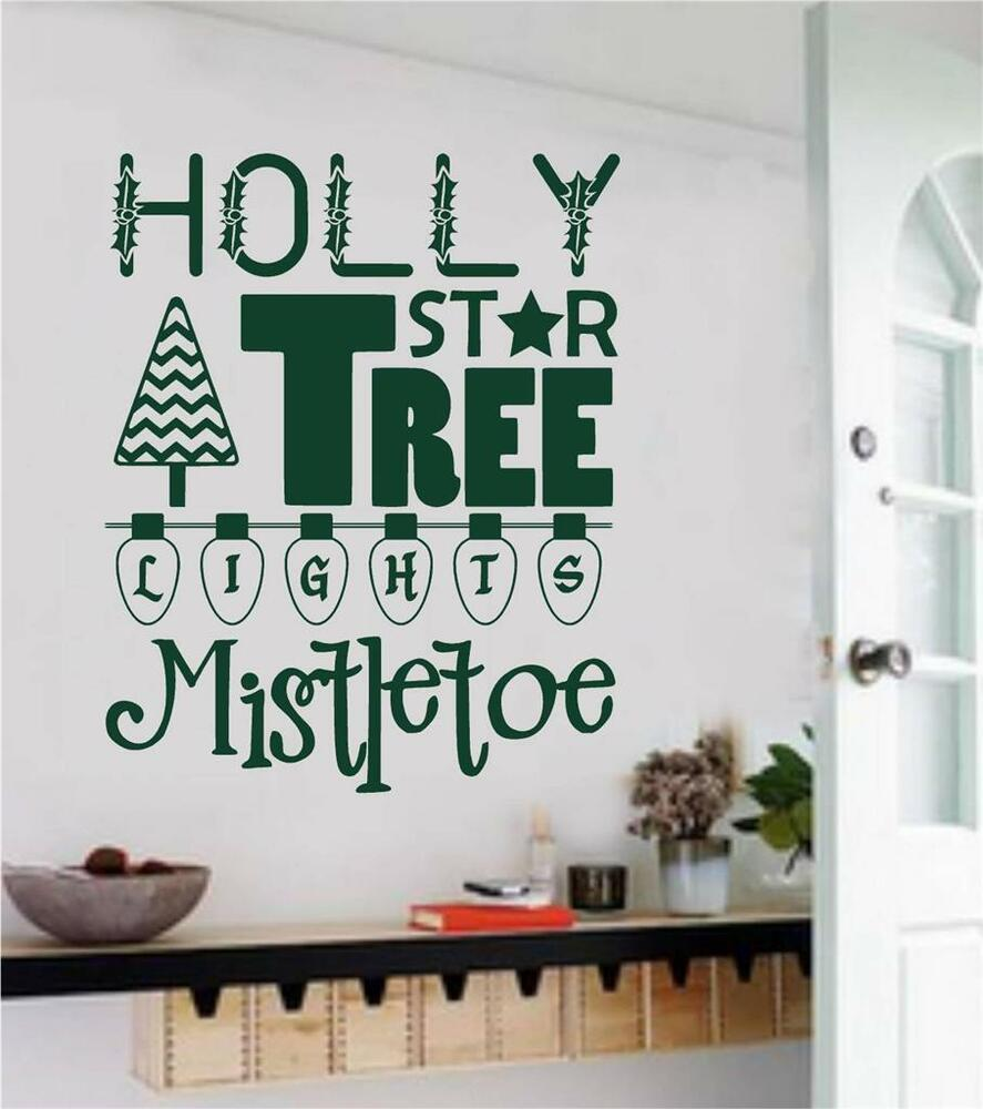 Christmas Decor Vinyl Wall Decals Sticker Words Letters