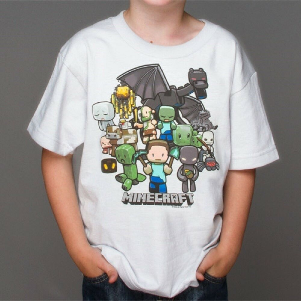 AUTHENTIC MINECRAFT PARTY YOUTH TEE STEVE CREEPER ENDER DRAGON ...