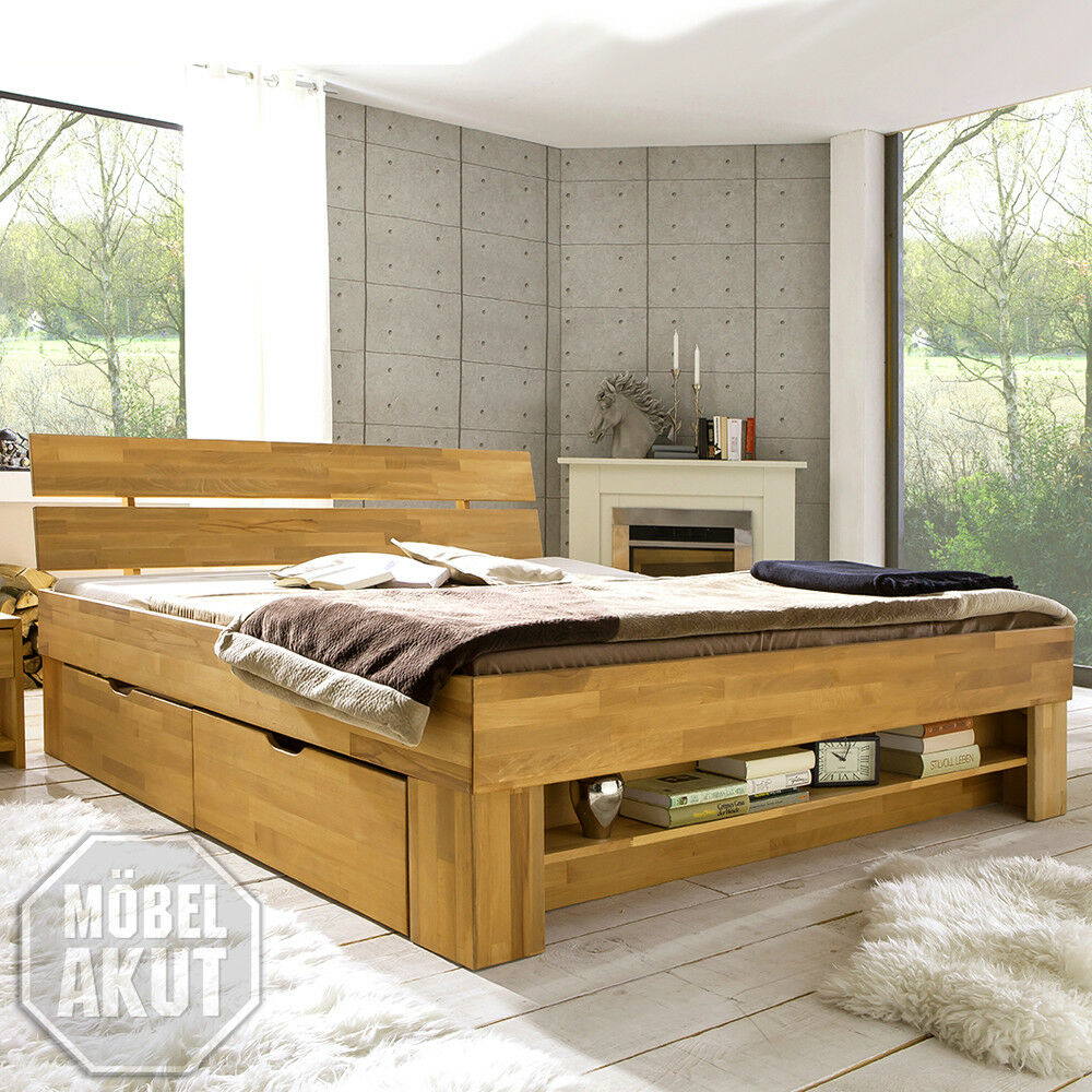 bett in kernbuche massiv ge lt inkl bettkasten regal 140x200 ebay. Black Bedroom Furniture Sets. Home Design Ideas