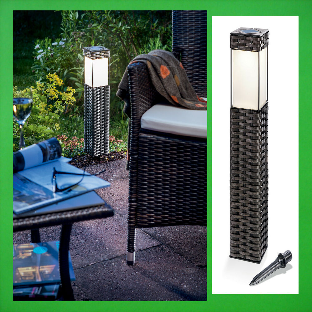 led solarleuchte warmwei solar au enleuchte gartenlampe rattan gartenleuchte ebay. Black Bedroom Furniture Sets. Home Design Ideas