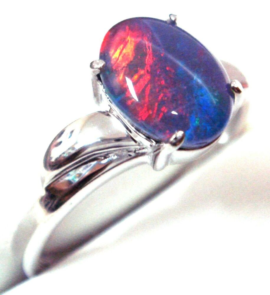 Australian Opal Ring For Sale Natural Black Triplet Opal