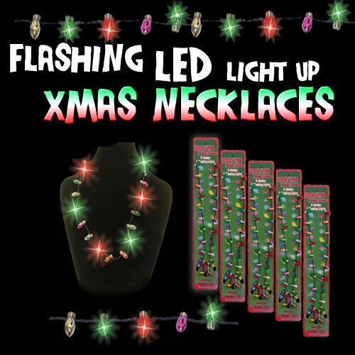 flashing fun led christmas lights strand flashing necklace party fun sale ebay. Black Bedroom Furniture Sets. Home Design Ideas