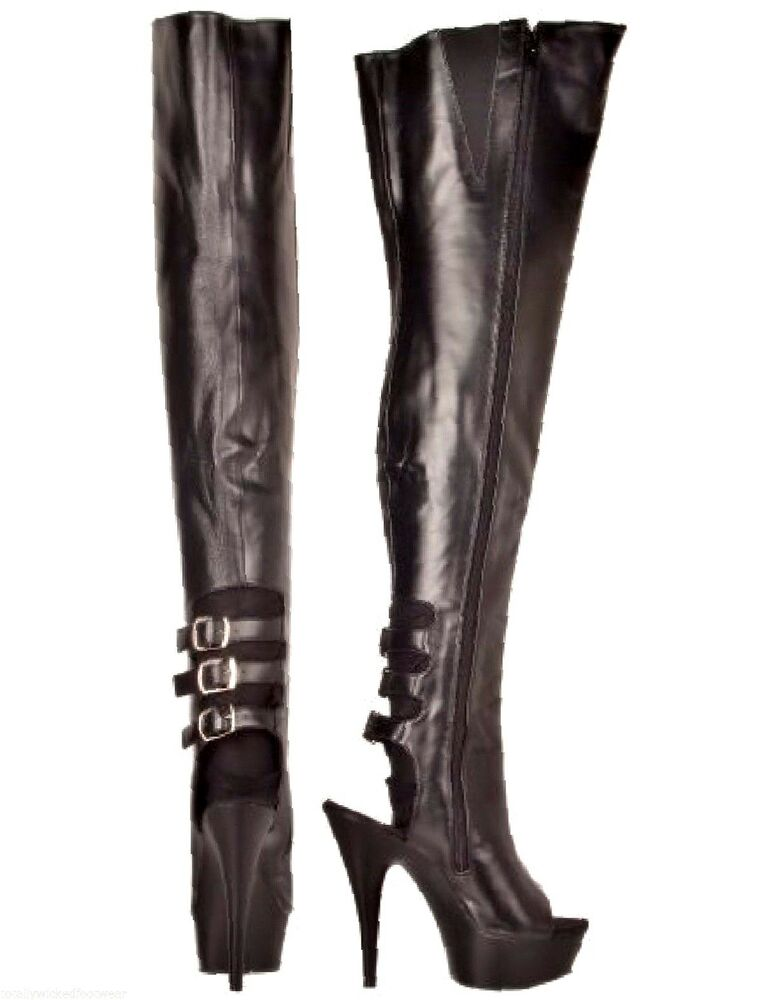 delight 3015 black leather platform thigh high buckle back