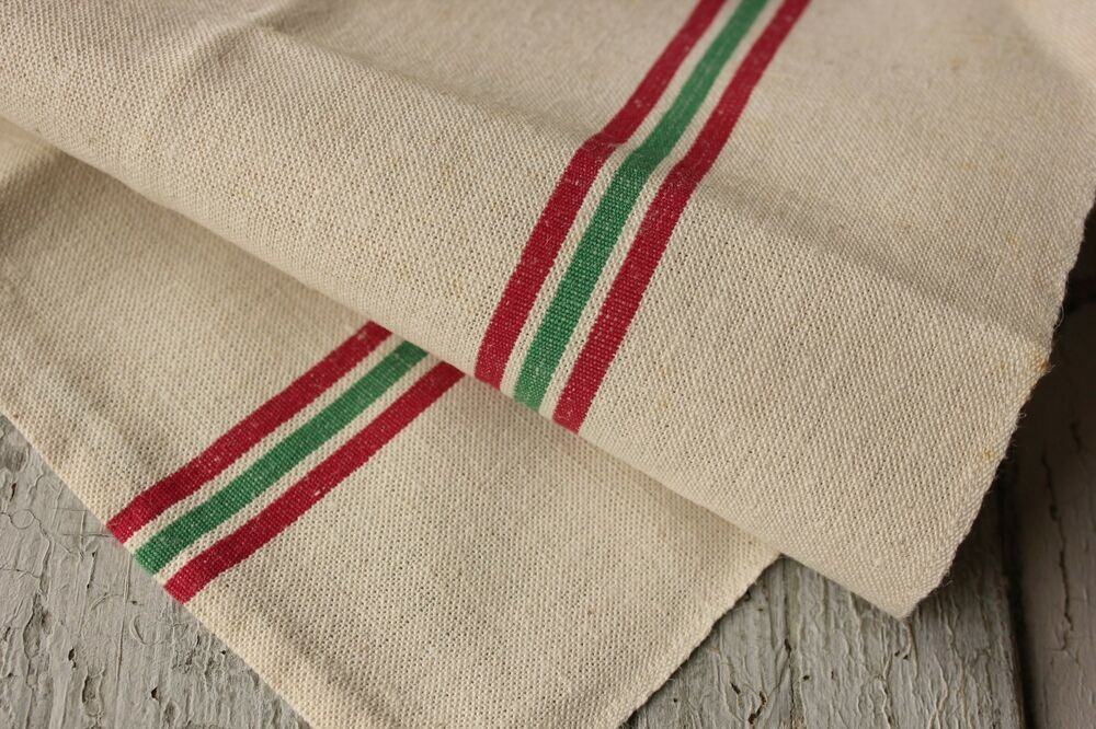 Christmas Towel Linen French Vintage Red Green Stripe