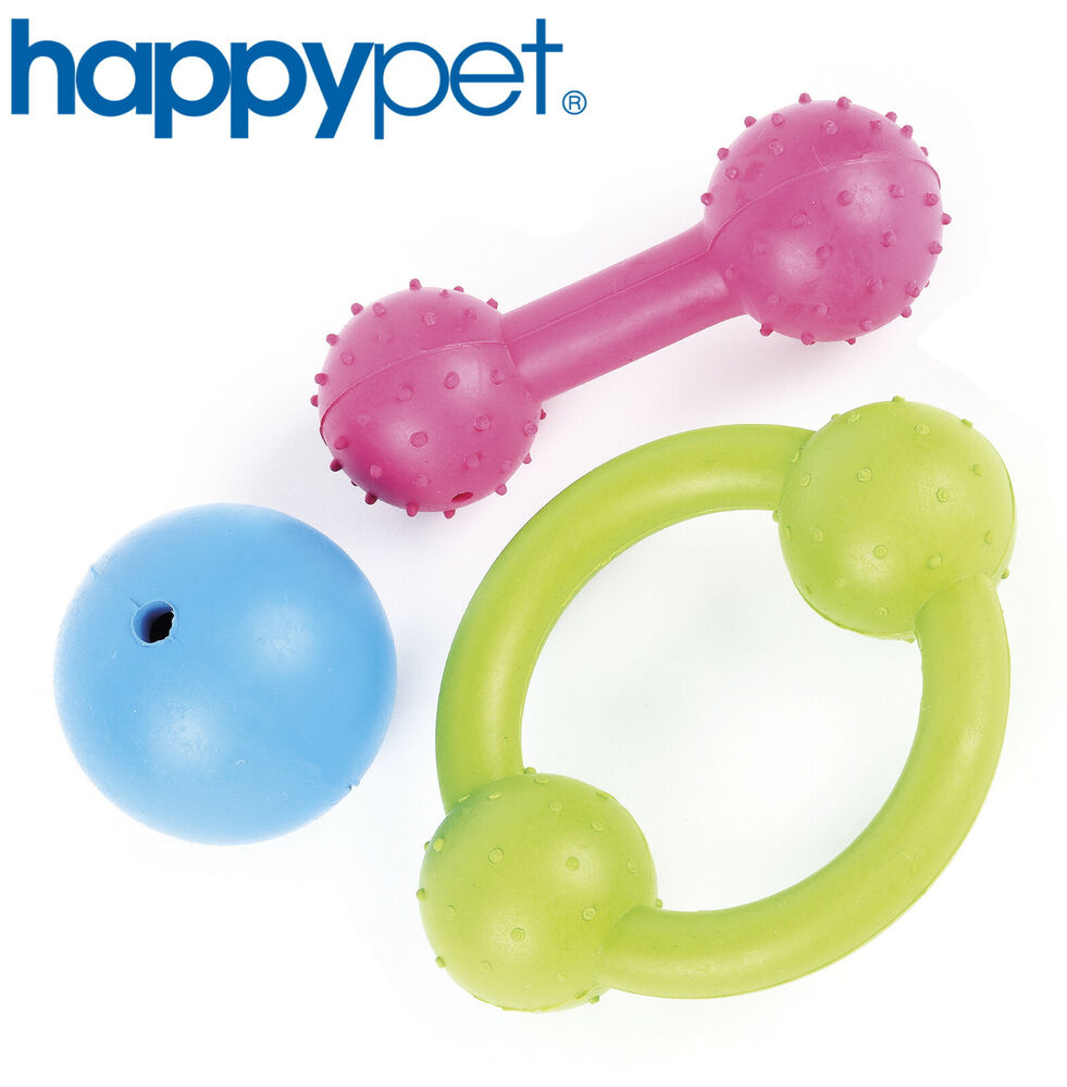HAPPY PET TOUGH TOYS DOG PUPPY RUBBER RING BALL DUMBELL
