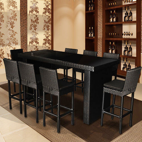 Wicker Outdoor Furniture Setting Dining Table Chairs Rattan Set 9pcs New Ebay