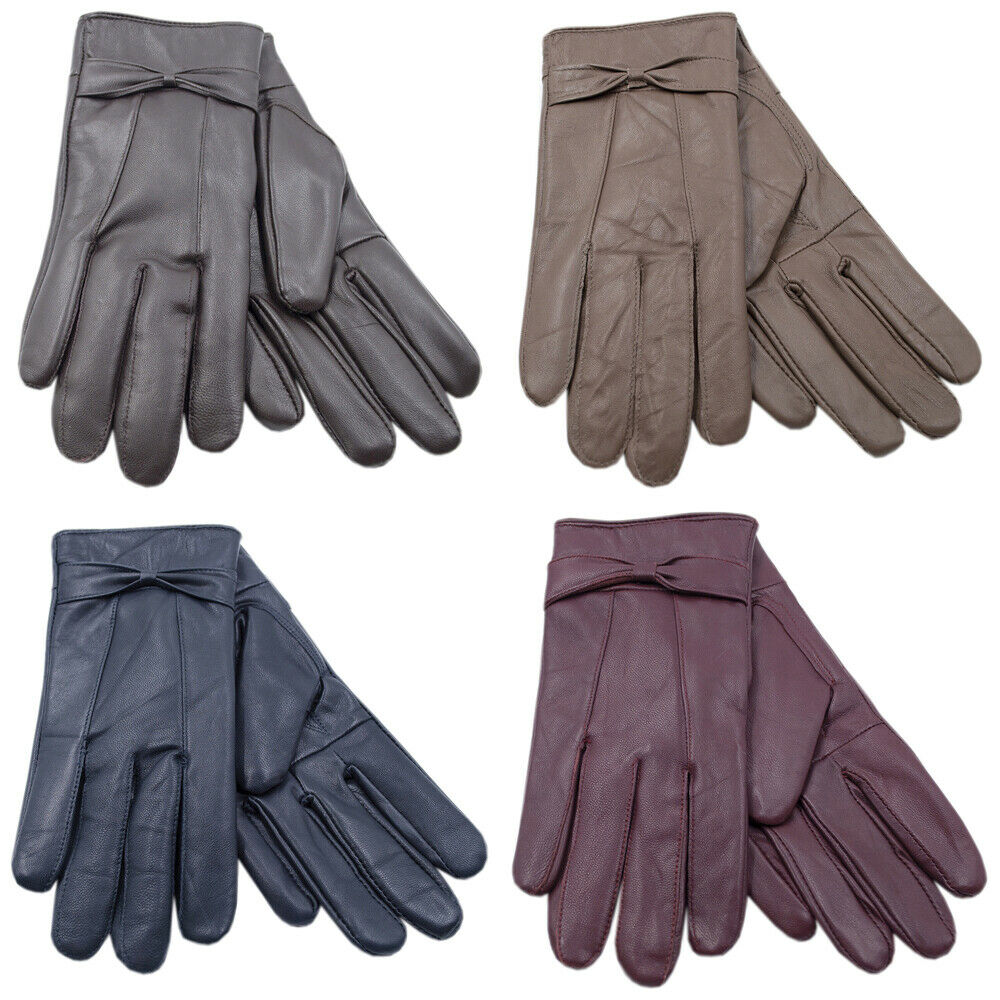 Ladies Soft Leather Coloured Fleece Lined Warm Winter