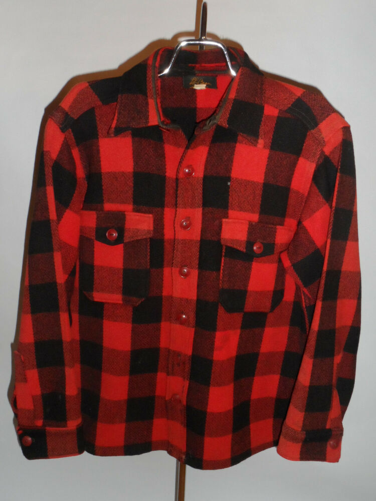 VINTAGE 1950s LL BEAN PLAID WOOL SHIRT JACKET! RED & BLACK ...