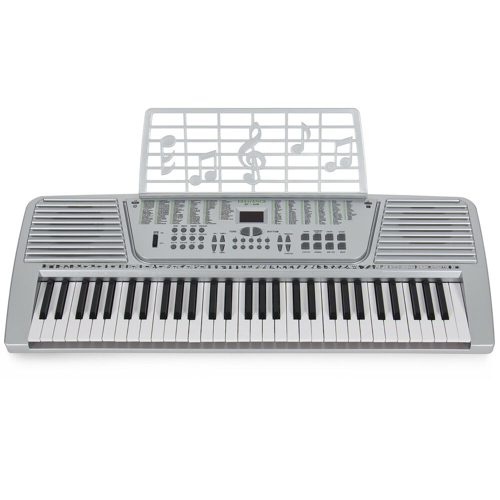 new silver 61 key electronic music keyboard electric piano organ ebay. Black Bedroom Furniture Sets. Home Design Ideas