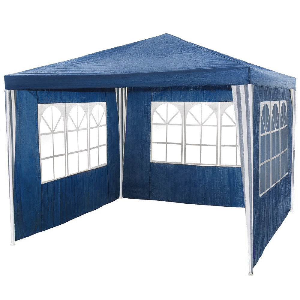 pavillon garten party camping fest event zelt bier mit seitenteile 3 x 3 m blau ebay. Black Bedroom Furniture Sets. Home Design Ideas