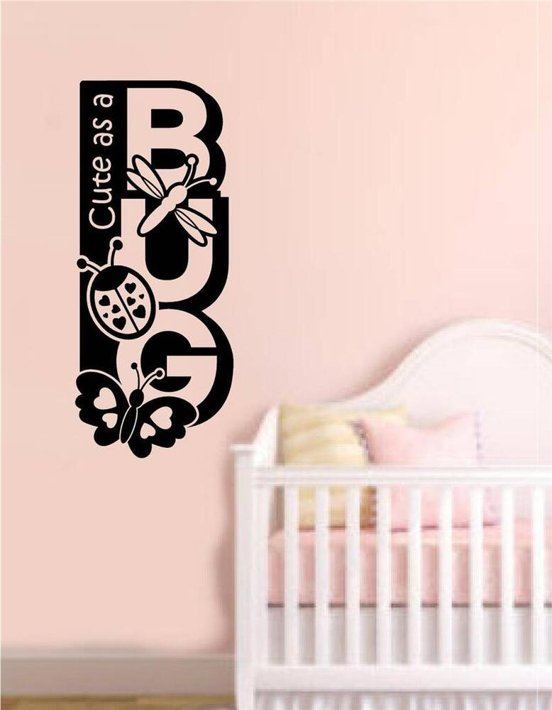 Cute as a bug baby nursery decor vinyl wall decals sticker for Baby mural stickers