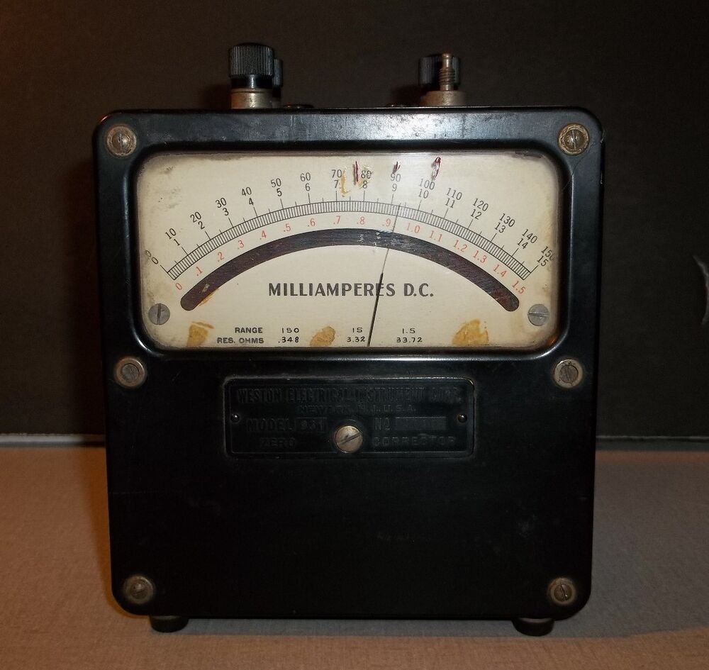 Antique Electrical Measuring Instruments : Used weston electrical instrument milliamperes model