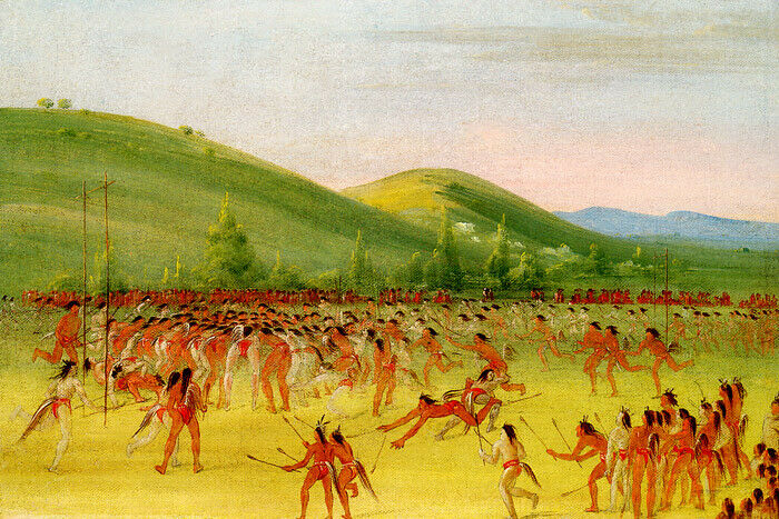 BALL PLAY OF THE CHOCTAW LACROSSE USA AMERICAN INDIAN 1834 ...