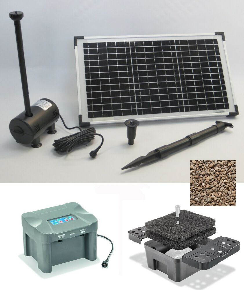 20w solarpumpe teichpumpe filter tauchpumpe solar pumpenset akku batterie pumpe ebay. Black Bedroom Furniture Sets. Home Design Ideas