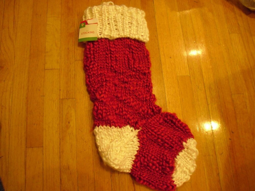 Knitted Christmas Decorations To Buy : New christmas knit red and white stockings holiday