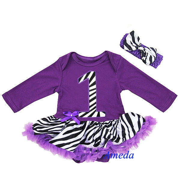 Baby Purple Zebra 1st Birthday Long Sleeves Jumpsuit Tutu