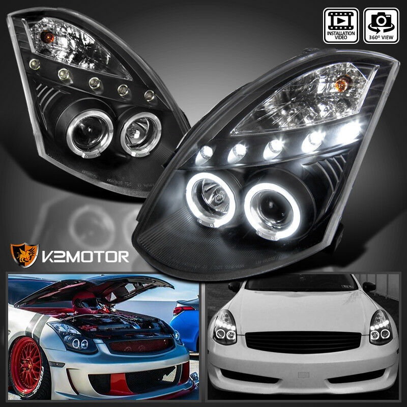 Details About Fit 2003 2007 G35 2dr Coupe Black Led Dual Halo Projector Headlights Left Right