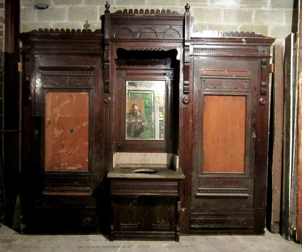 Antique carved oak closet front built in butlers pantry for Kitchen closet