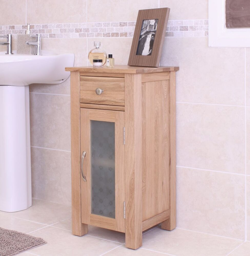 small cabinet glazed storage unit solid oak bathroom furniture ebay